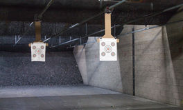 Target rows at a shooting range. Target rows at a shooting range, close up Royalty Free Stock Photos