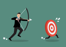 Target run away from businessman archer Royalty Free Stock Photography