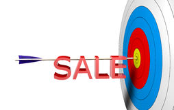 Target Sale. Arrow on a center and a text 3d sale Royalty Free Stock Images