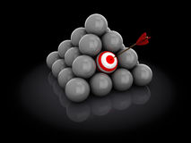 Target selection. 3d illustration of ball with arrow, target selection concept Stock Images