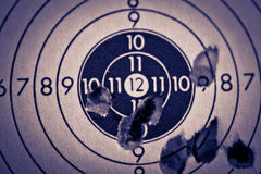 Target Sheet. Photograph of a target sheet cluttered with shots outside the bulls-eye Royalty Free Stock Image