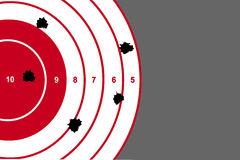 Target shooting. Illustration with 5 bullet holes Royalty Free Stock Photography