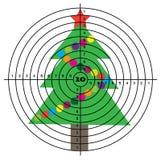 Target shooting on background of Christmas tree.  Stock Photos