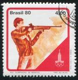 Target shooting. BRAZIL - CIRCA 1980: stamp printed by Brazil, shows  Target shooting, circa 1980 Royalty Free Stock Image