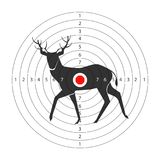 Target for shooting gallery with deer black silhouette. And circles with score. Paper aim with forest animal and red spot in middle isolated cartoon flat vector Stock Photos