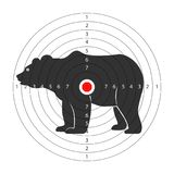 Target for shooting gallery with huge bear silhouette. Wild dangerous animal on aim with scores. Enormous mammal used as goal isolated cartoon flat vector royalty free illustration