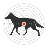 Target for shooting gallery with wild wolf silhouette Stock Photos