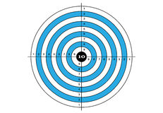 Target shooting, vector, target in blue color Royalty Free Stock Images