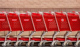 Target Shopping Carts. ATLANTA, GEORGIA - June 15, 2019: Computer outages have knocked Target Stores offline across the nation stock images