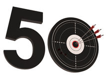 50 Target Shows Number Fifty. 50 Target Showing Number Fifty Years Old Anniversary Stock Images