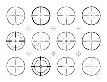 Target, sight sniper set of icons. Hunting, rifle scope, crosshair symbol. Vector illustration Stock Images