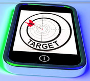 Target Smartphone Shows Goals Aims And Objectives. Target Smartphone Showing Goals Aims And Objectives Royalty Free Stock Image