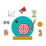 Target and social media icon set Royalty Free Stock Image