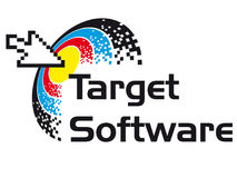 Target Software. A logo that can be used for company branding Stock Images