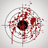Target splashed with blood. On gray background Royalty Free Stock Photos