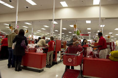 Target store cashier customer holiday shopping Royalty Free Stock Photo