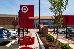 Target Store Shopping Cart. Lancaster, PA, USA - May 2, 2018: A shopping cart in the front of the American retailer Target at the store in Lancaster stock photography
