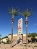 Target store signage on roadside. Target sign on roadside outside the store in the back of the building Stock Image
