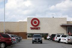 Target store with vehicles in parking lot stock image