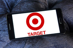 Target stores logo. Logo of the international chain of convenience stores target on samsung mobile phone a5 Royalty Free Stock Photos