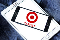Target stores logo. Logo of the international chain of convenience stores target on samsung mobile phone a5 Royalty Free Stock Photo