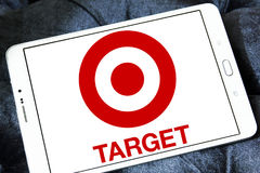 Target stores logo. Logo of the international chain of convenient stores  target on samsung tablet Royalty Free Stock Images