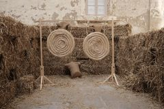 Target of straw for shooting with bow. Day Stock Image
