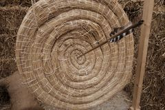Target of straw for shooting with bow. Day Royalty Free Stock Photos