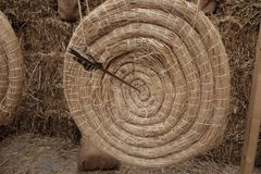 Target of straw for shooting with bow. Day Royalty Free Stock Photo