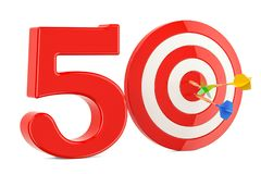 Target 50, success and achievement concept. 3D rendering. Isolated on white background Stock Image