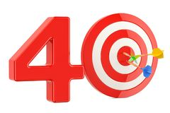 Target 40, success and achievement concept. 3D rendering. Isolated on white background Stock Images