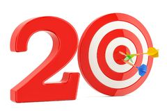Target 20, success and achievement concept. 3D rendering. Isolated on white background Stock Photography