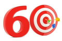 Target 60, success and achievement concept. 3D rendering. Isolated on white background Royalty Free Stock Image