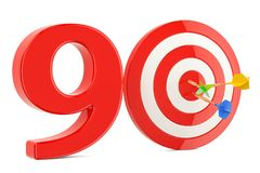Target 90, success and achievement concept. 3D rendering. Isolated on white background Stock Photo