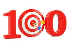 Target 100, success and achievement concept. 3D rendering. Isolated on white background Royalty Free Stock Photography