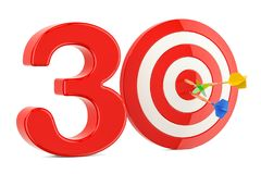 Target 30, success and achievement concept. 3D rendering. On white background Stock Photography