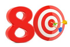 Target 80, success and achievement concept. 3D rendering. On white background Royalty Free Stock Photos