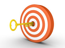 Target with success-key in keyhole. 3d target with key of success in the keyhole Royalty Free Stock Images