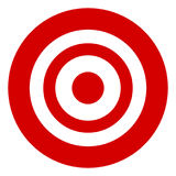 Target symbol isolated on white. Accuracy, target, aiming concep Stock Photo