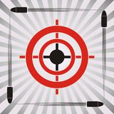 Target symbol. Target practice symbol with target and flying bullets on striped background Royalty Free Stock Photo