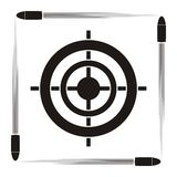 Target symbol. Target practice symbol with target and flying bullets on striped background Stock Photography