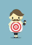 Target on t-shirt. Fat man carry dumbbell and wear t-shirt, it is has target with white and red color Royalty Free Stock Images
