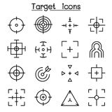 Target & Aim icon set in thin line style Royalty Free Stock Photography
