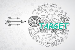 Target text, With creative drawing charts and graphs business success strategy plan idea, Inspiration concept modern design templa. Te workflow layout, diagram Royalty Free Stock Photo