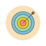 Target thin line icon, bullseye filled outline vector logo illus stock illustration
