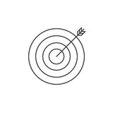 Target thin line icon, bullseye outline vector logo illustration. Linear pictogram isolated on white Stock Photography