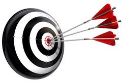 Target and three arrows conceptual image Royalty Free Stock Images