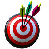 Target with three arrows. 3D simulation of a ball target and three arrows in the center isolated and with clipping path Stock Photo