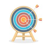 Target with Three Arrows. Flat style royalty free illustration