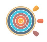 Target with Three Arrows. Flat style stock illustration